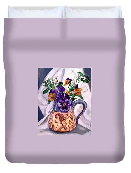 Pitcher Of Pansies Duvet Cover