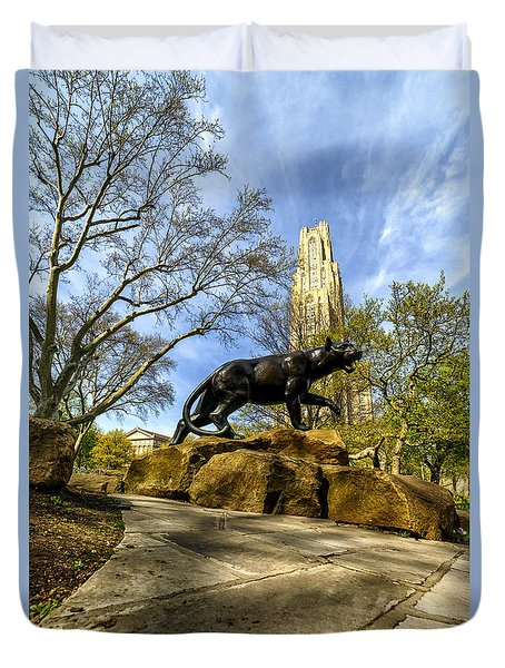Pitt Panther Cathedral Of Learning Duvet Cover