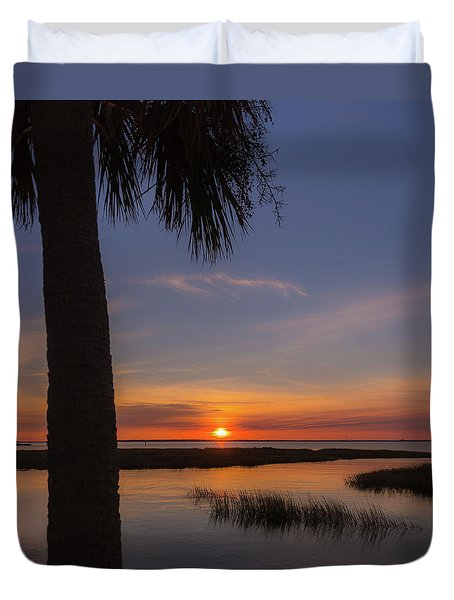 Pitt Street Bridge Palmetto Sunset Duvet Cover