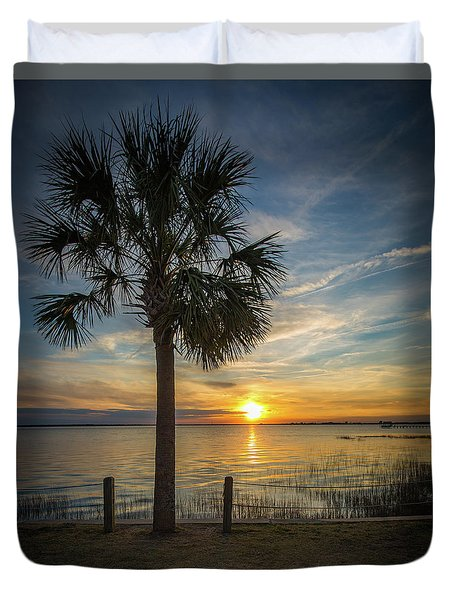 Pitt Street Bridge Palmetto Tree Sunset Duvet Cover