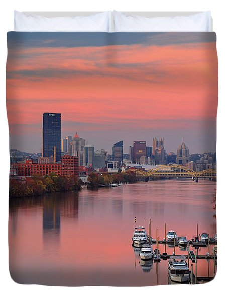 Pittsburgh 31st Street Bridge  Duvet Cover by Emmanuel Panagiotakis