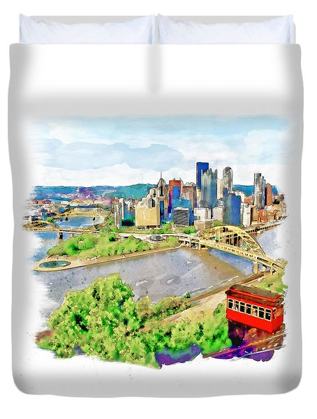 Pittsburgh Aerial View Duvet Cover
