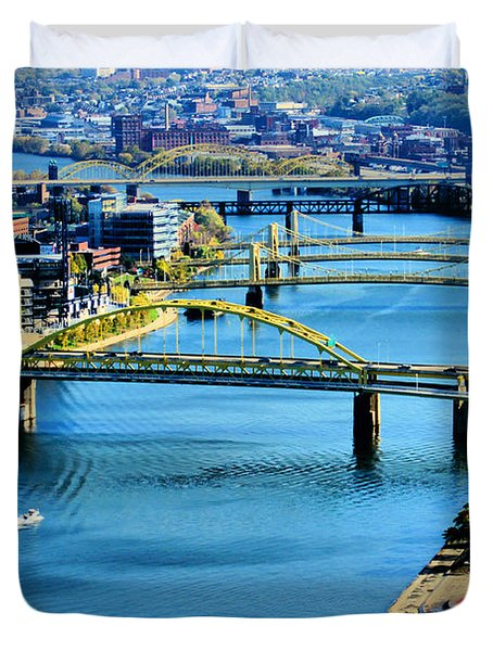 Pittsburgh At The Point Duvet Cover