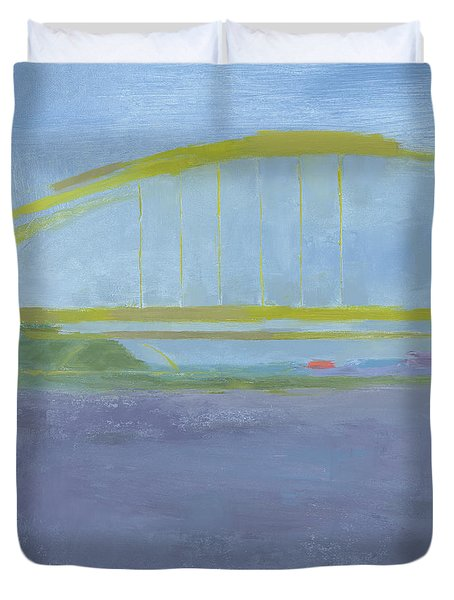 Duvet Cover featuring the painting Pittsburgh Bridge by Chris N Rohrbach