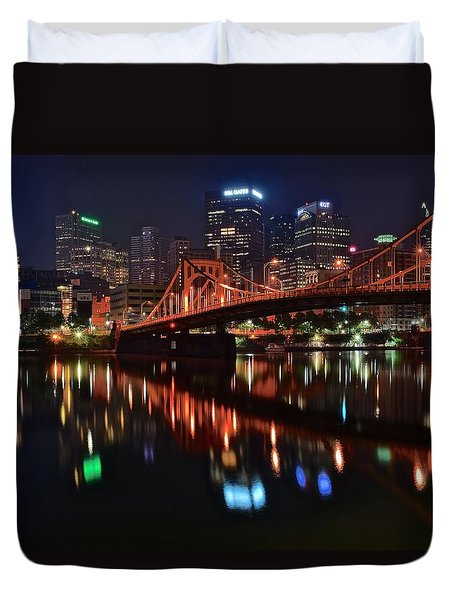 Pittsburgh Lights Duvet Cover by Frozen in Time Fine Art Photography