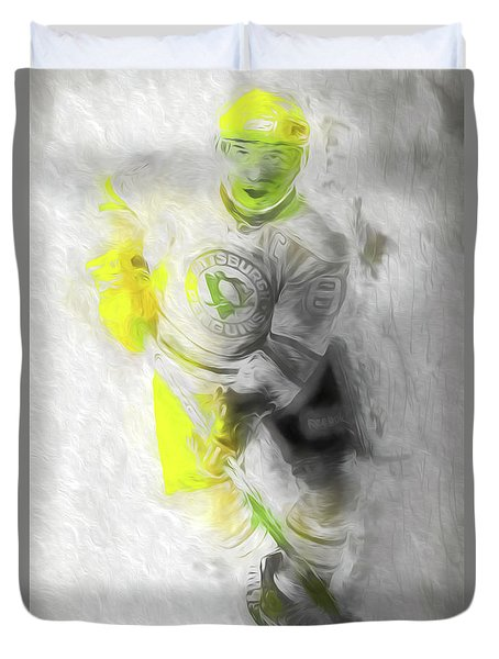 Pittsburgh Penguins Nhl Sidney Crosby Painting Fantasy Duvet Cover by David Haskett