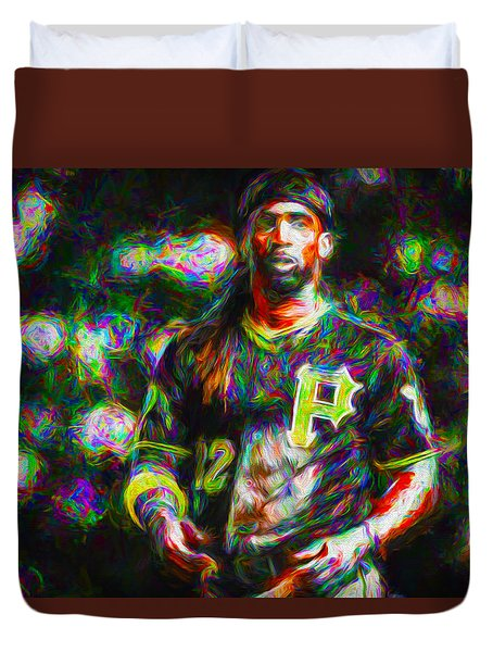 Pittsburgh Pirates Andrew Mccutchen Painted Duvet Cover by David Haskett