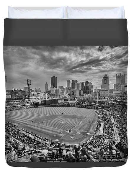 Pittsburgh Pirates Pnc Park Bw X1 Duvet Cover by David Haskett