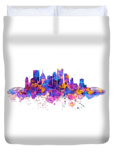 Pittsburgh Skyline Duvet Cover by Marian Voicu
