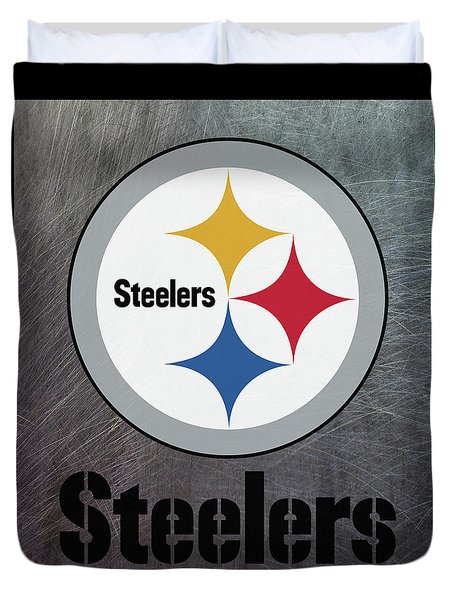 Pittsburgh Steelers On An Abraded Steel Texture Duvet Cover