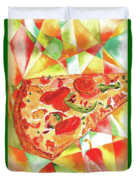 Duvet Cover featuring the painting Pizza Pizza by Paula Ayers