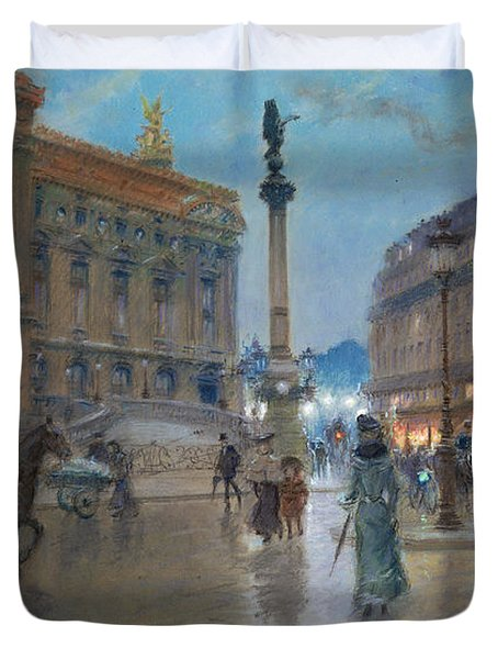 Place De L Opera In Paris Duvet Cover by Georges Stein