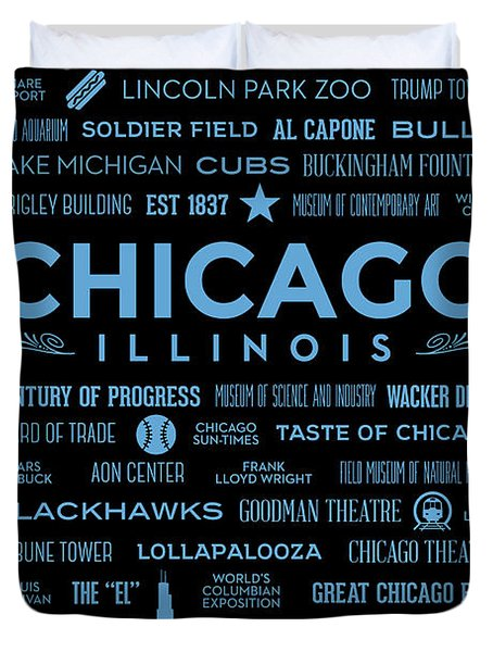 Duvet Cover featuring the digital art Places Of Chicago Blue On Black by Christopher Arndt