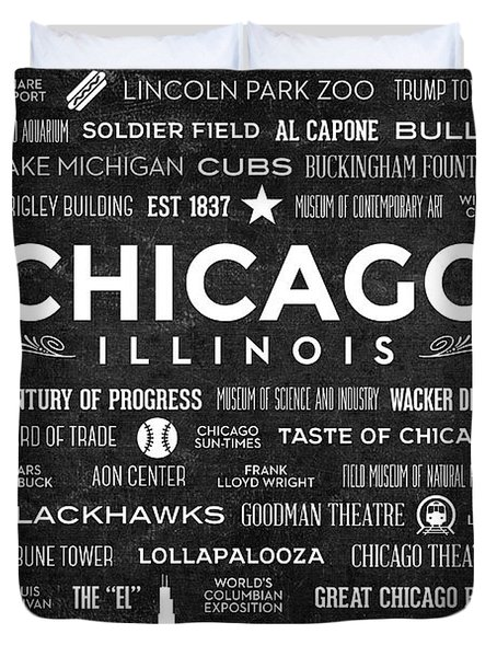 Duvet Cover featuring the digital art Places Of Chicago On Black Chalkboard by Christopher Arndt