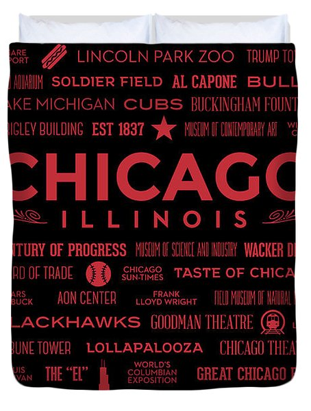 Duvet Cover featuring the digital art Places Of Chicago On Red On Black by Christopher Arndt