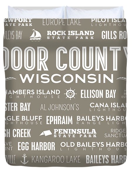 Duvet Cover featuring the digital art Places Of Door County On Brown by Christopher Arndt