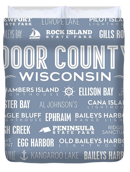Duvet Cover featuring the digital art Places Of Door County On Light Blue by Christopher Arndt