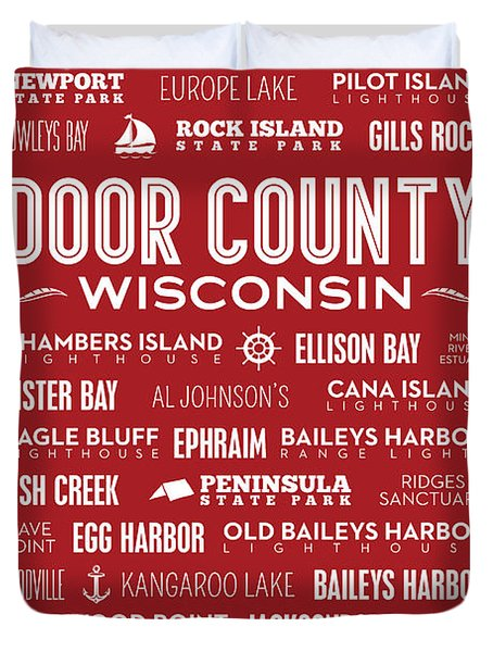 Places Of Door County On Red Duvet Cover