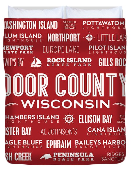 Places Of Door County On Red Duvet Cover by Christopher Arndt