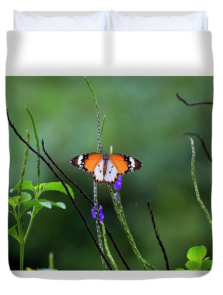 Plain Tiger Butterfly Duvet Cover by David Gn