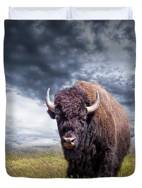 Plains Buffalo On The Prairie Duvet Cover