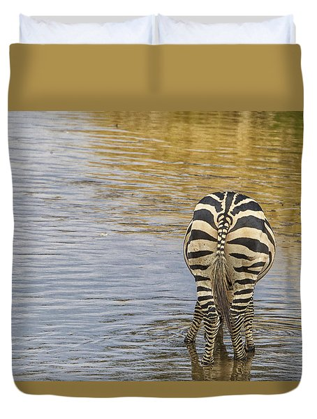 Duvet Cover featuring the tapestry - textile Plains Zebra by Kathy Adams Clark