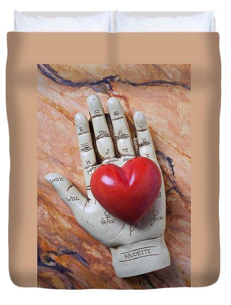 Plam Reader Hand Holding Red Stone Heart Duvet Cover