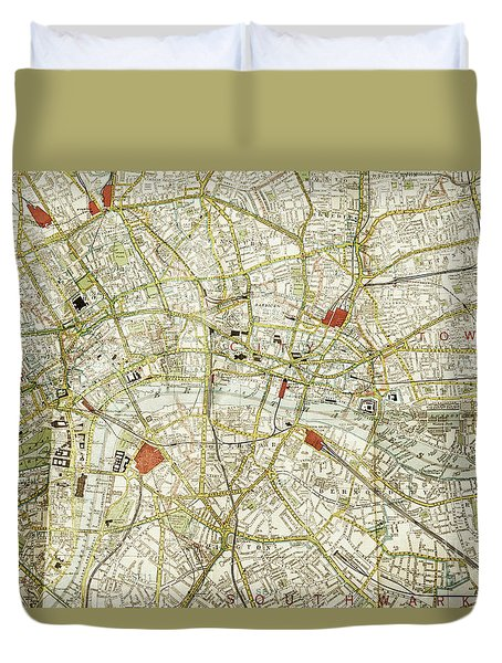 Duvet Cover featuring the photograph Plan Of Central London by Patricia Hofmeester