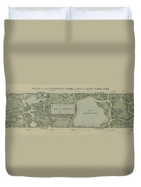 Duvet Cover featuring the photograph Plan Of Central Park City Of New York 1860 by Duncan Pearson