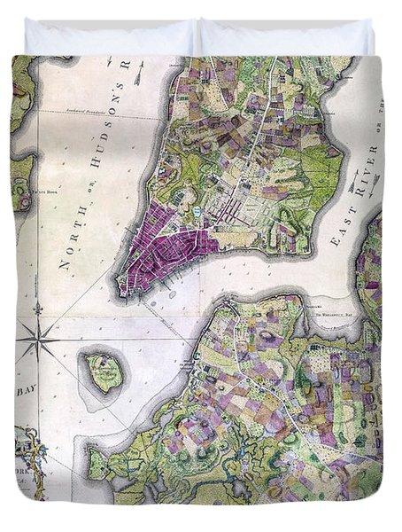 Plan Of Manhattan New York 1766 Duvet Cover