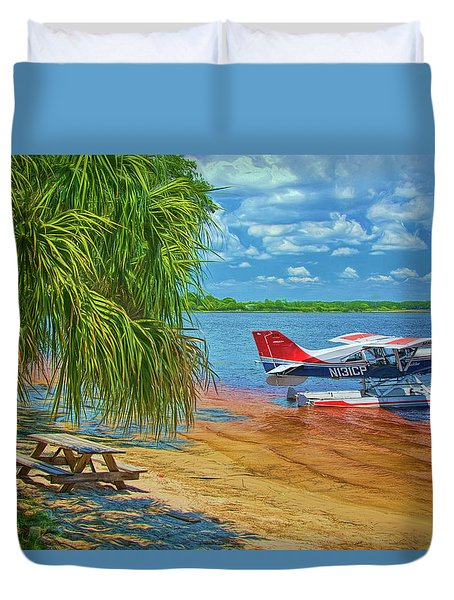 Duvet Cover featuring the photograph Plane On The Lake by Lewis Mann