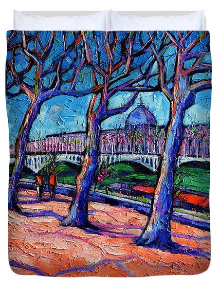 Plane Trees Along The Rhone River - Spring In Lyon By Mona Edulesco Duvet Cover