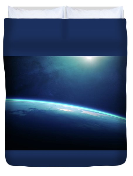 Planet Earth Sunrise From Space Duvet Cover
