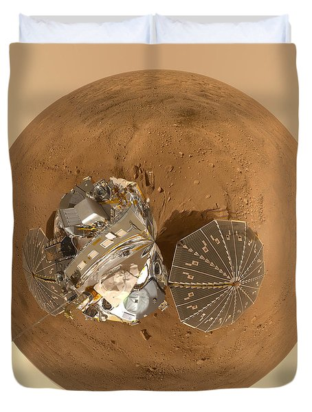 Planet Mars Via Phoenix Mars Lander Duvet Cover