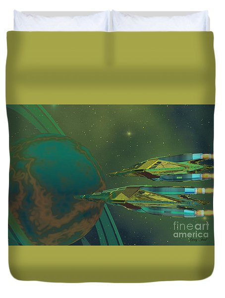 Planet Of Origin Duvet Cover by Corey Ford