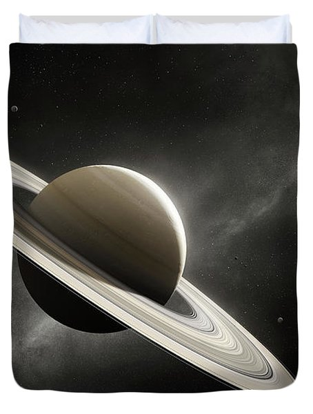 Planet Saturn With Major Moons Duvet Cover