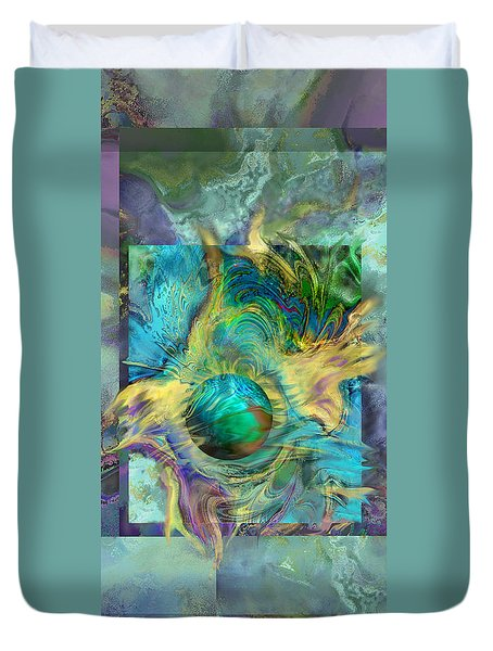 Planetary Collision 2 Duvet Cover by Ursula Freer