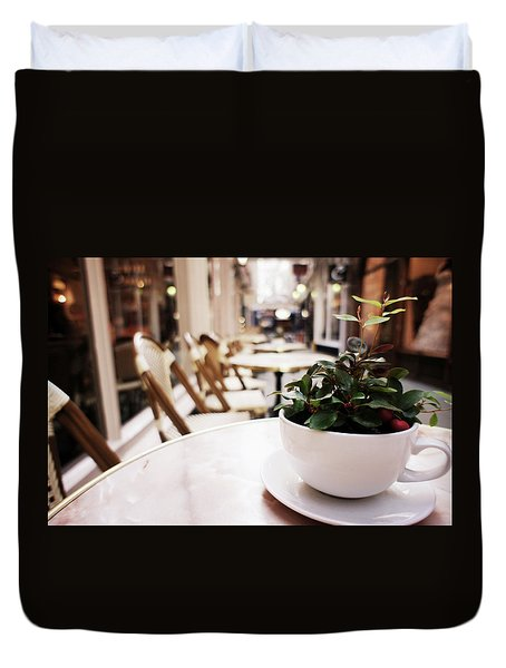 Plant In A Cup In A Cafe Duvet Cover