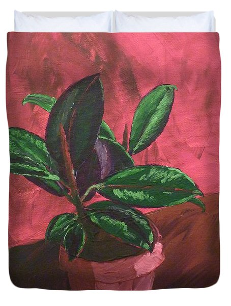 Duvet Cover featuring the painting Plant In Ceramic Pot by Joshua Redman
