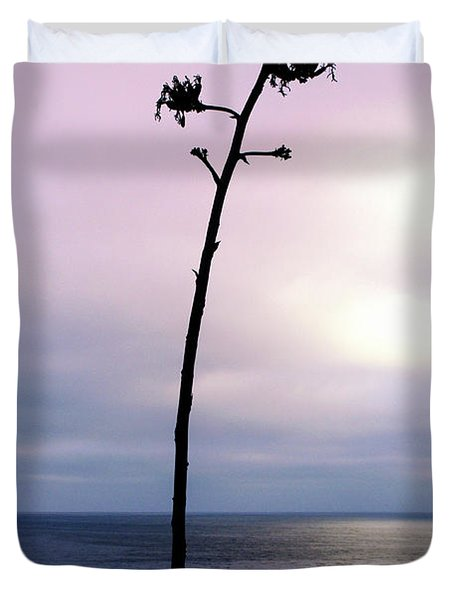 Duvet Cover featuring the photograph Plant Silhouette Over Ocean by Mariola Bitner