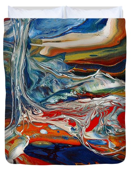 Duvet Cover featuring the painting Planted By The Waters by Deborah Nell