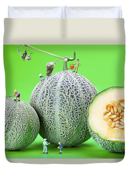 Duvet Cover featuring the photograph Planting Cantaloupe Melons Little People On Food by Paul Ge
