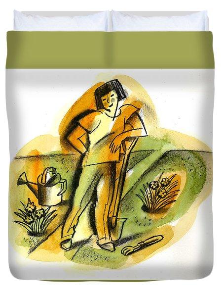 Planting Duvet Cover by Leon Zernitsky