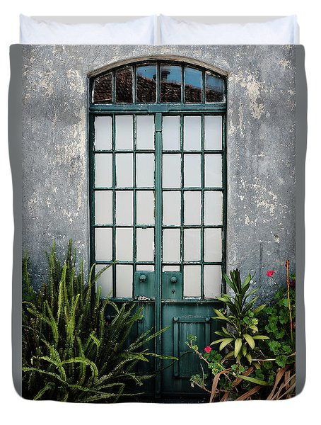 Duvet Cover featuring the photograph Plants In The Doorway by Marco Oliveira