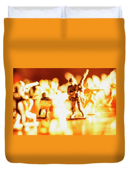 Duvet Cover featuring the photograph Plastic Army Men 1 by Micah May