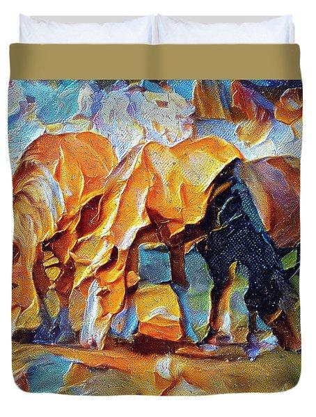 Plastic Horses Duvet Cover