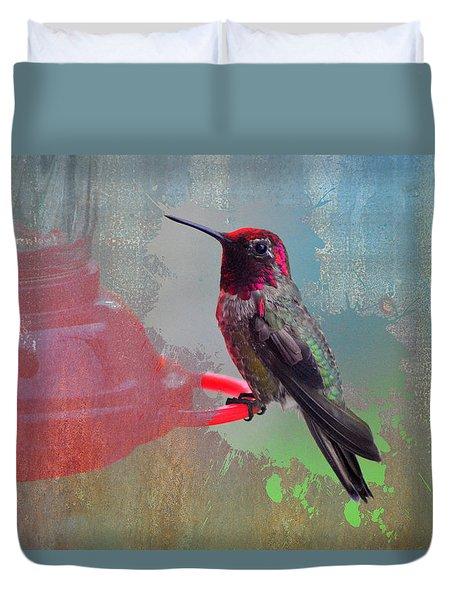 Plate 031 - Hummingbird Grunge Series Duvet Cover