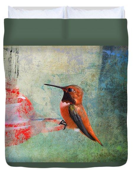 Plate 048 - Hummingbird Grunge Series Duvet Cover