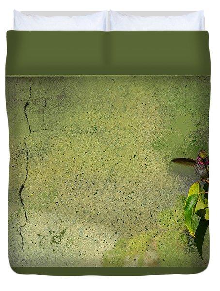 Plate 087 - Hummingbird Grunge Series Duvet Cover