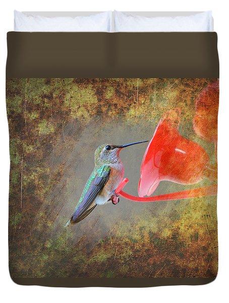 Plate 153 - Hummingbird Grunge Series Duvet Cover